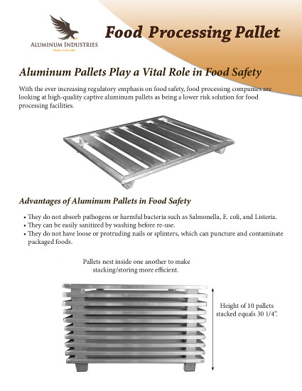 Aluminum Pallet usde for Food Processing
