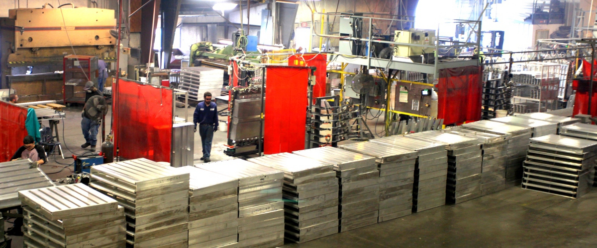 Food processing aluminum pallets for food production