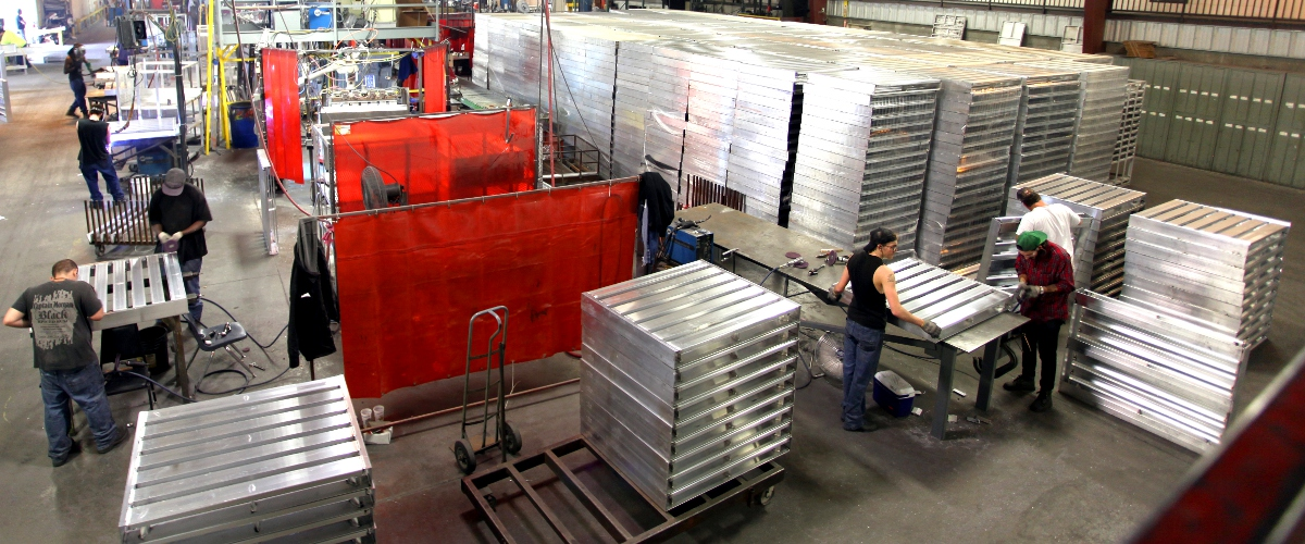 Cold storage aluminum pallets.